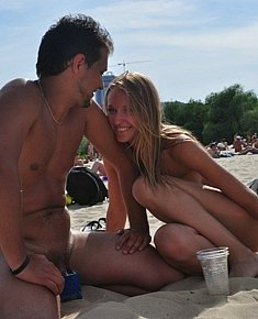 lovely teen amateurs takes sun-bath on the beaches of Crimea