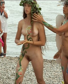 sexy damsels seduces men among nudists on the beach